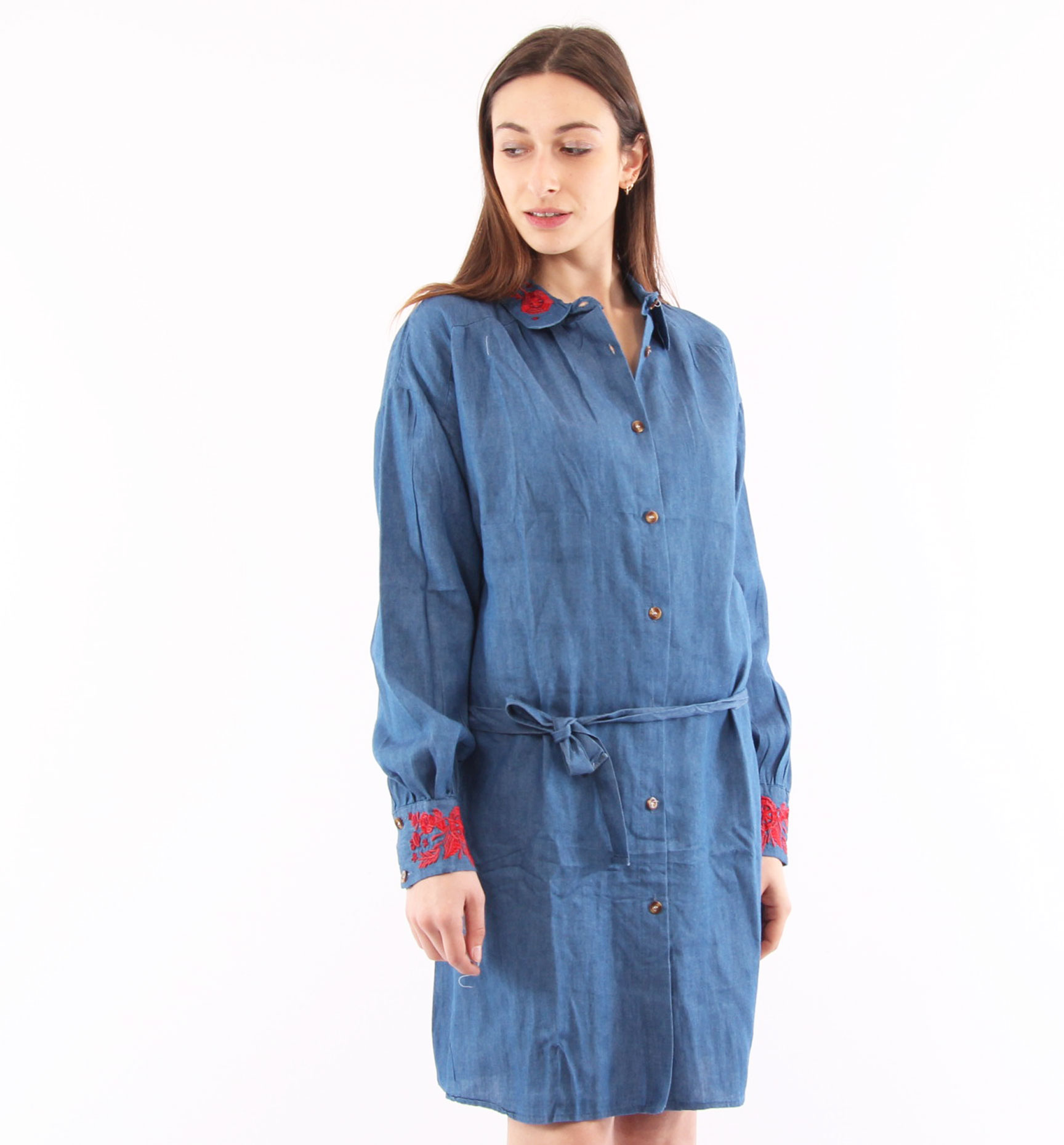 best loved 35b3d 0eda6 CAMICIA LUNGA JEANS CON RICAMI